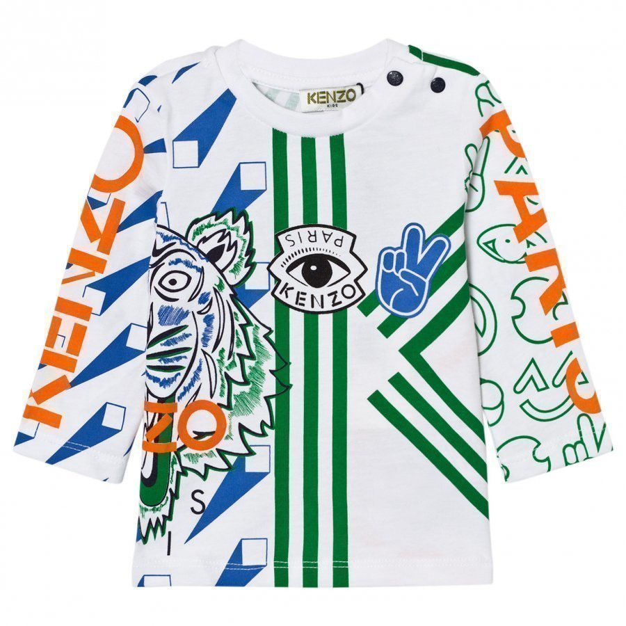 Kenzo White And Multi All Over Icons Print Tee Pitkähihainen T-Paita