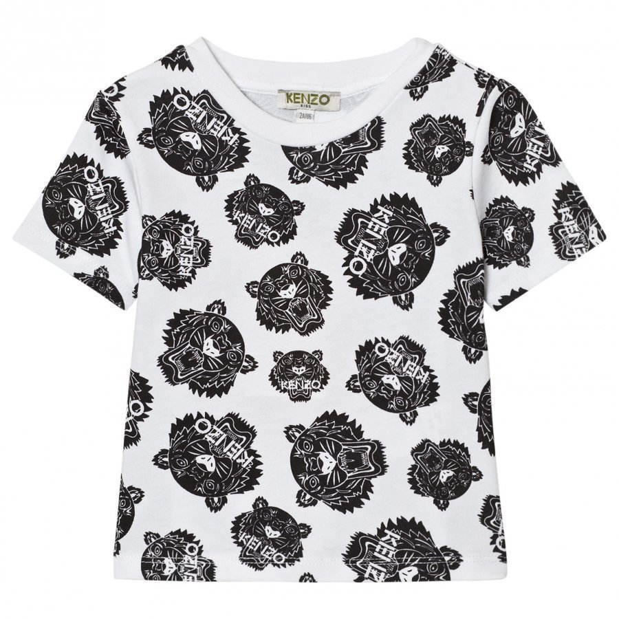 Kenzo White Black All Over Tiger Print Tee T-Paita