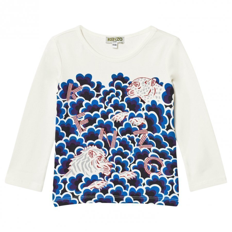 Kenzo White Cloud Multi Tiger Print Long Sleeve Tee Pitkähihainen T-Paita