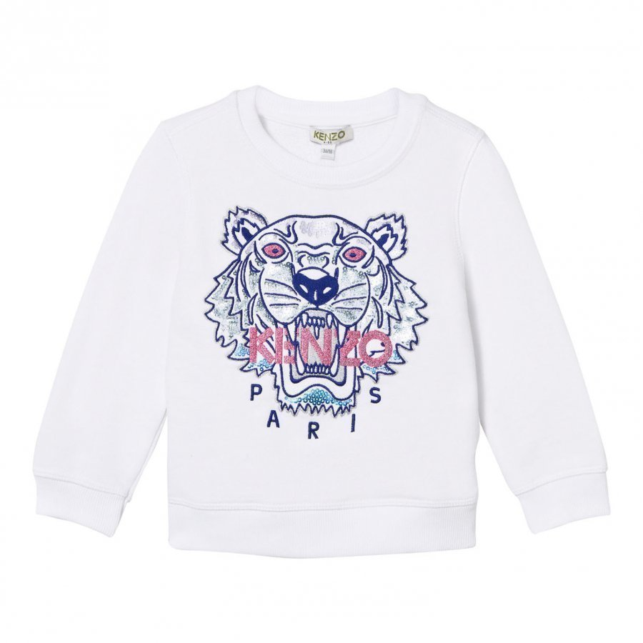 Kenzo White Embroidered Tiger Sweatshirt Oloasun Paita