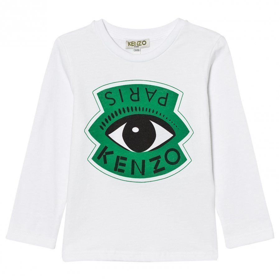 Kenzo White Eye And Eiffel Tower Print Long Sleeve Tee Pitkähihainen T-Paita
