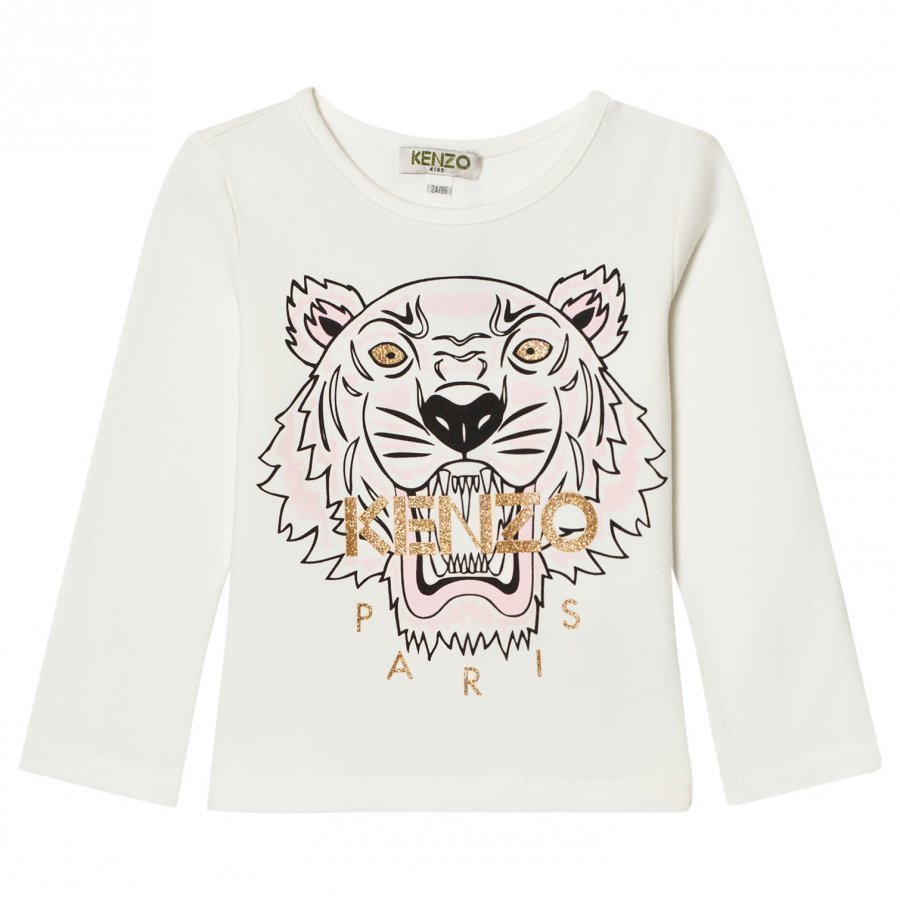 Kenzo White Tiger Print Long Sleeve Tee Pitkähihainen T-Paita