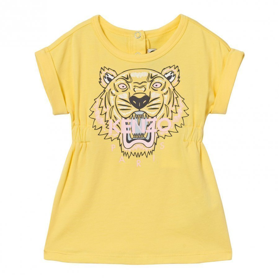 Kenzo Yellow Tiger Print Jersey Dress Mekko