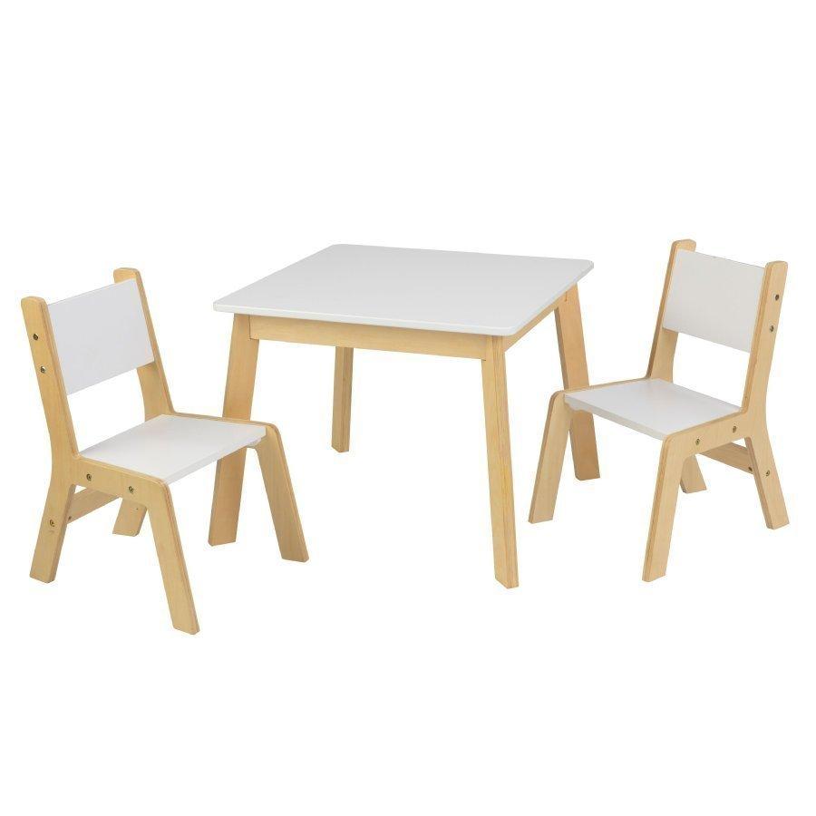 Kidkraft Moderni Pöytä Ja Kaksi Tuolia Valkoinen / Puunvärinen
