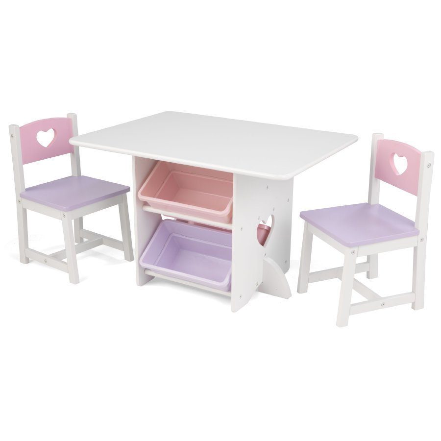 Kidkraft Pöytä Ja Kaksi Tuolia Sydän Valkoinen / Vaaleanpunainen