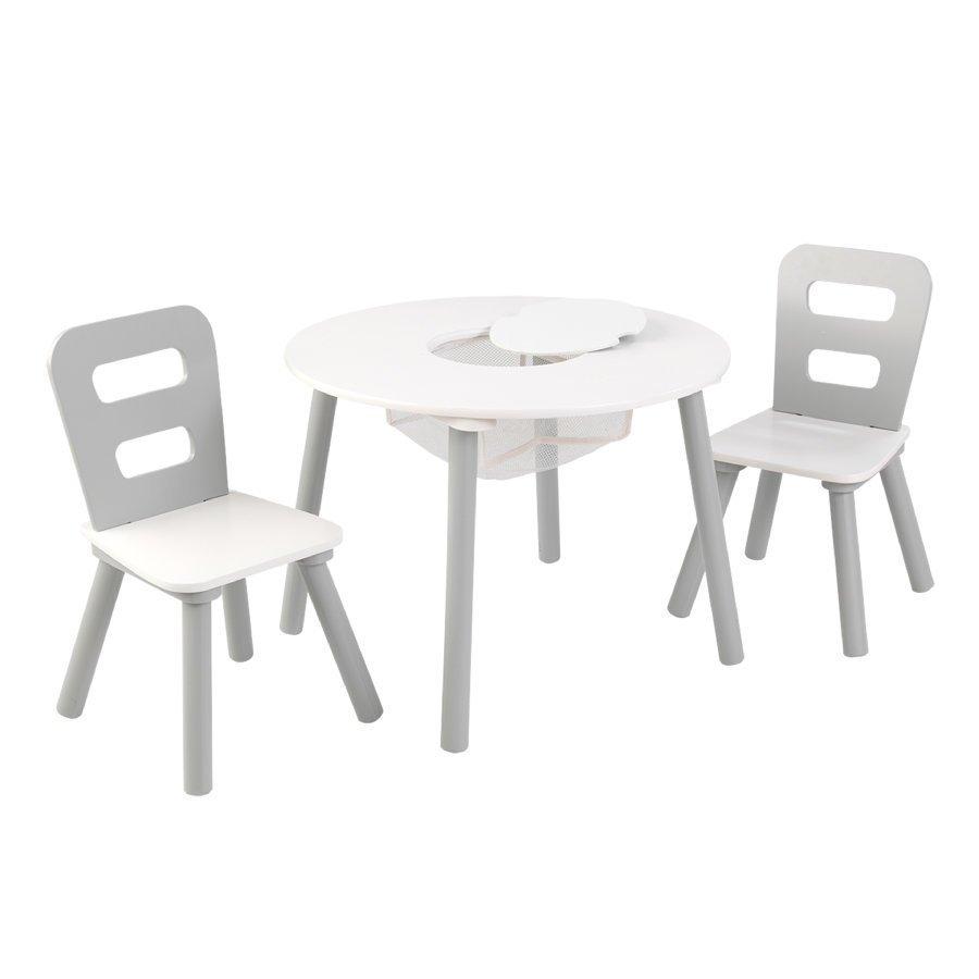 Kidkraft Pyöreä Pöytä Ja Kaksi Tuolia Valkoinen / Harmaa