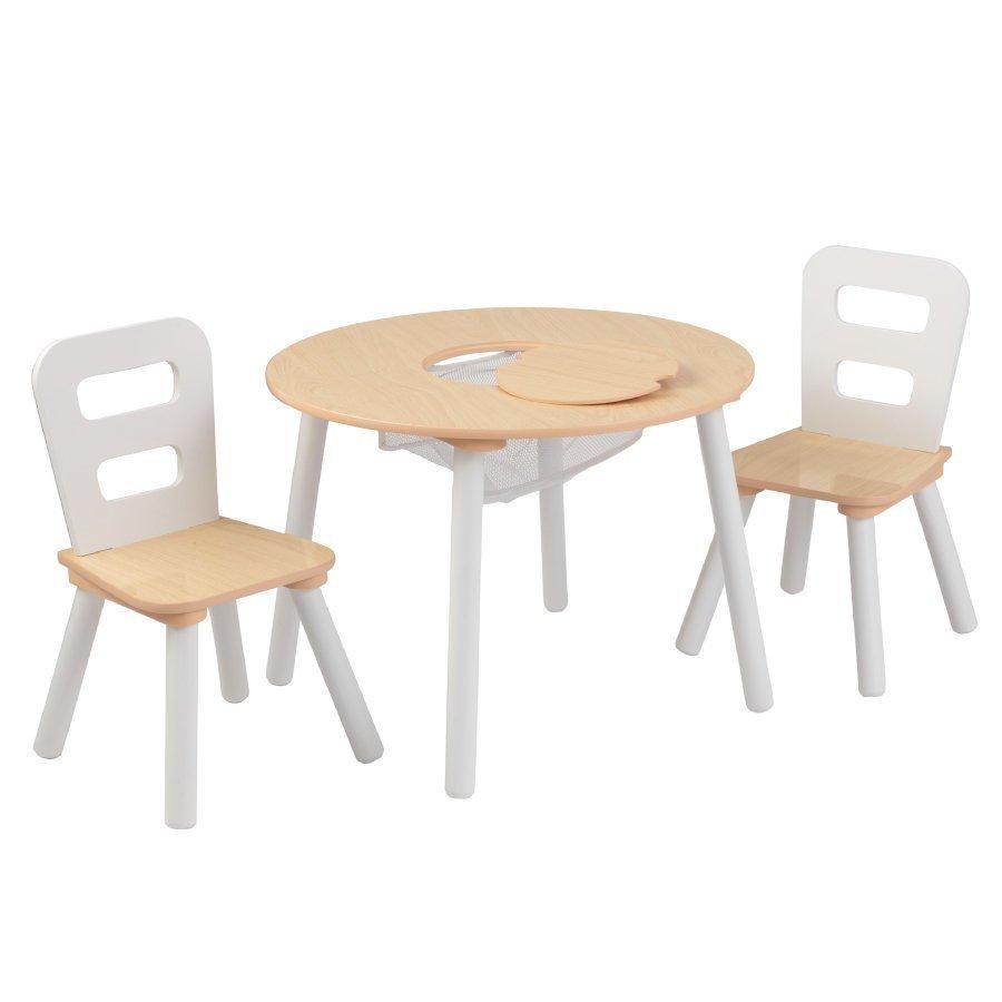 Kidkraft Pyöreä Pöytä Ja Kaksi Tuolia Valkoinen / Puunvärinen