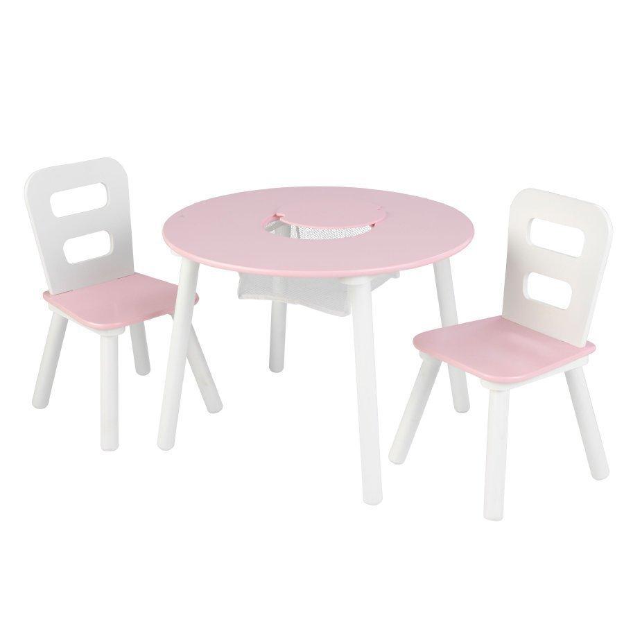 Kidkraft Pyöreä Pöytä Ja Kaksi Tuolia Valkoinen / Vaaleanpunainen