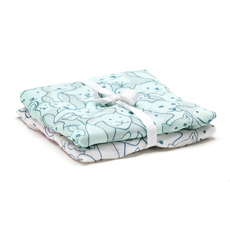 Kids Concept 2-Pack Muslin Blanket Edvin Green/Whiteit Huopa
