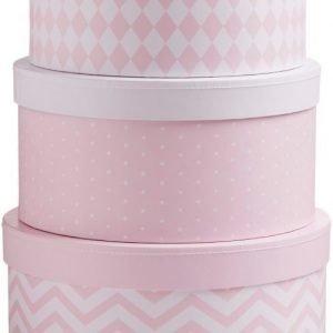 Kids Concept Barnkammaren Kannellinen säilytyslaatikko 3 kpl Vaaleanpunainen