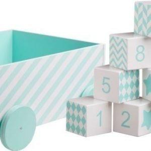 Kids Concept Barnkammaren Puupalikat + Pyörällinen säilytyslaatikko Mintunvihreä Paket