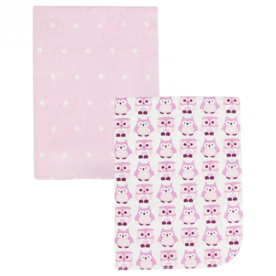 Kids Concept Flannel Blanket Owl 2-Pack Pink Huopa