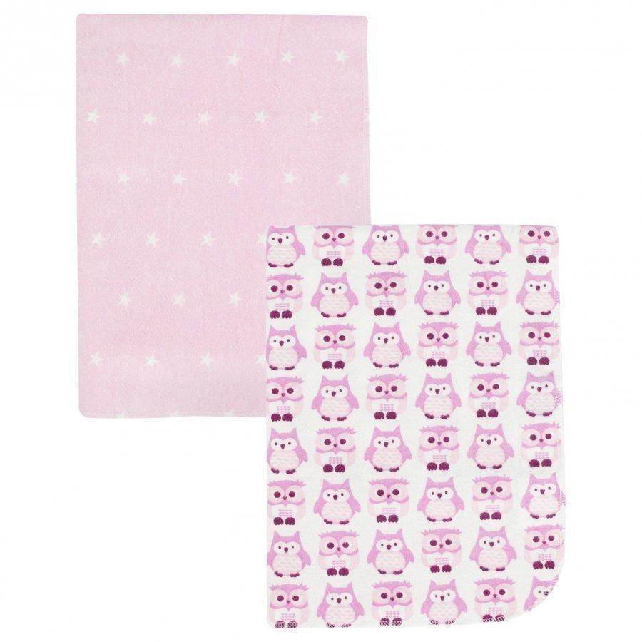 Kids Concept Flannel Blanket Owl 2-Pack Pink Huopa