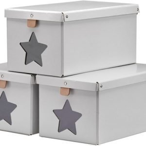 Kids Concept Kenkälaatikot 3 kpl Harmaa