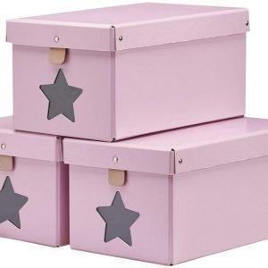 Kids Concept Kenkälaatikot 3 kpl Vaaleanpunainen