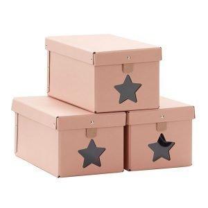 Kids Concept Kenkälaatikot Vaaleanpunainen 3-Pakkaus