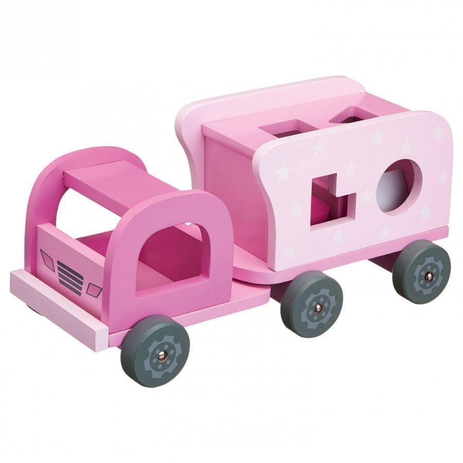 Kids Concept Pink Wooden Block Truck Leluauto