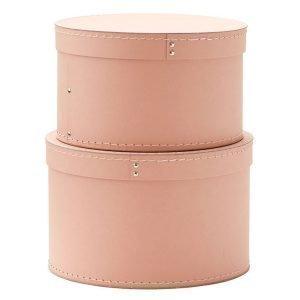 Kids Concept Säilytyslaatikko Vaaleanpunainen Pyöreä 2 Setti