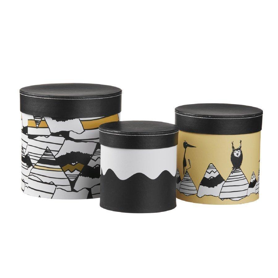 Kids Concept Säilytysrasiat 3 Kpl Musta / Valkoinen / Keltainen
