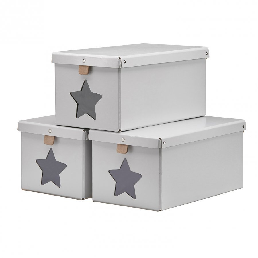 Kids Concept Shoe/Toy Boxes Grey 3-Pieces Säilytyslaatikko