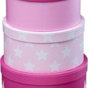 Kids Concept Star Pahvilaatikot 3 kpl Vaaleanpunainen