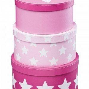 Kids Concept Star Pahvirasiat Vaaleanpunainen 3-Pakkaus