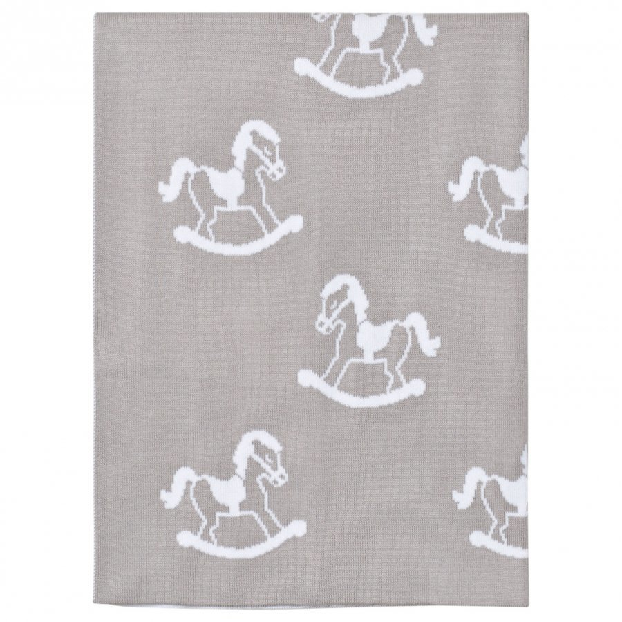 Kissy Kissy Grey Rocking Horse Knit Blanket Huopa
