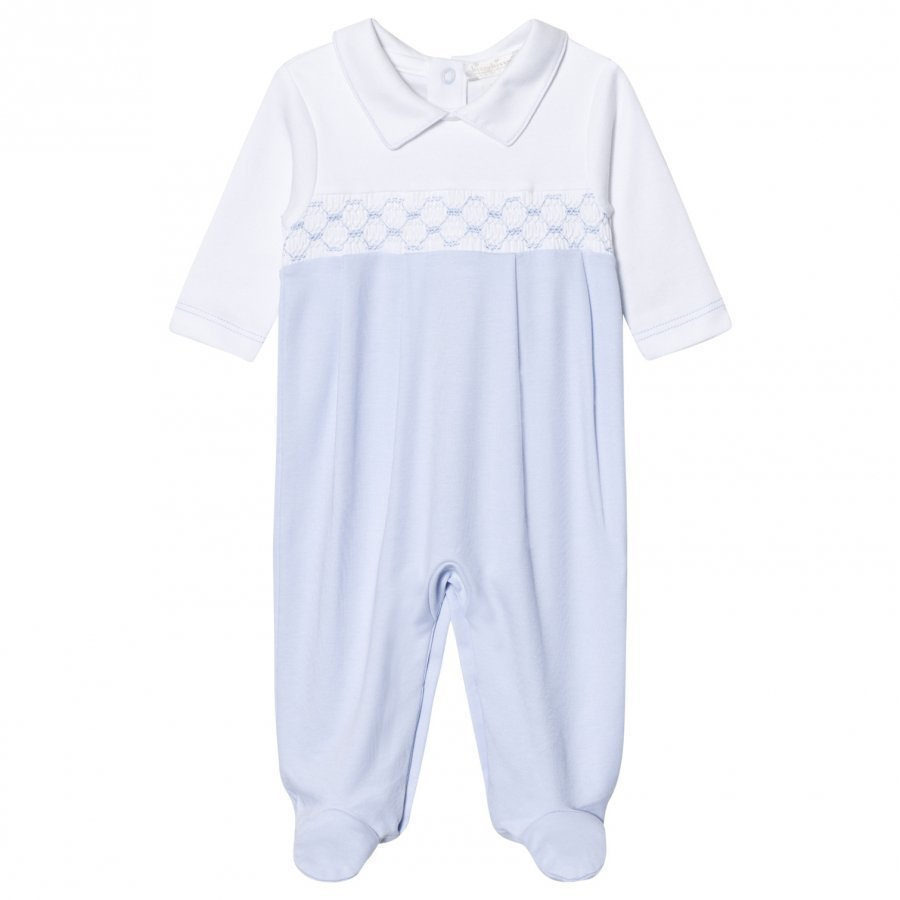 Kissy Kissy Light Blue Smock Front Footed Baby Body