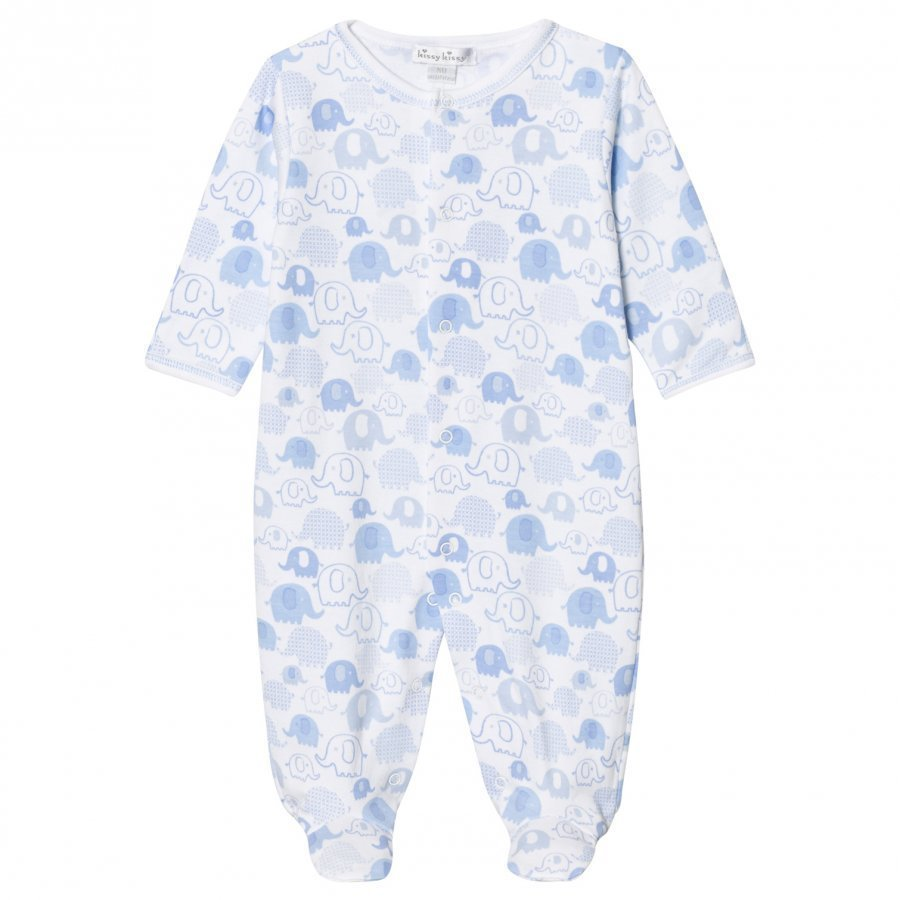 Kissy Kissy Pale Blue Elephant Print Footed Baby Body
