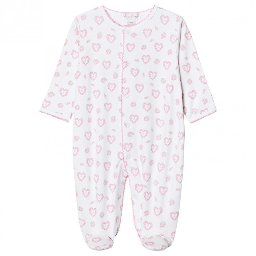 Kissy Kissy Pink Floral Heart Print Jersey Footed Baby Body