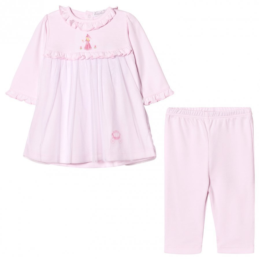 Kissy Kissy Pink Rose Princess Embroidered Tulle Front Dress And Leggings Set Asusetti