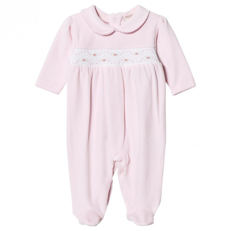 Kissy Kissy Pink Velour Rose Smocked One-Piece Body