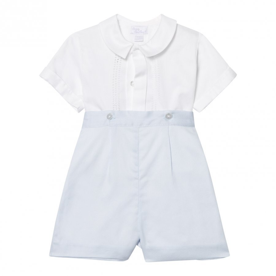 Kissy Kissy White And Pale Blue Formal Romper Puku