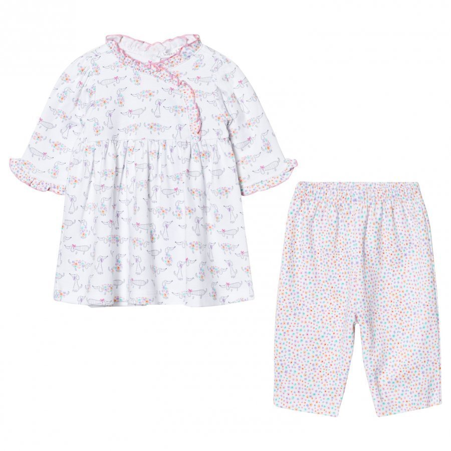 Kissy Kissy White And Pink Dachshund Print Dress And Print Legging Set Asusetti