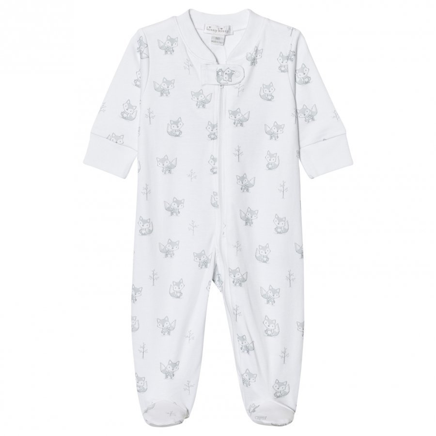 Kissy Kissy White And Silver Fox Print Jersey Footed Baby Body