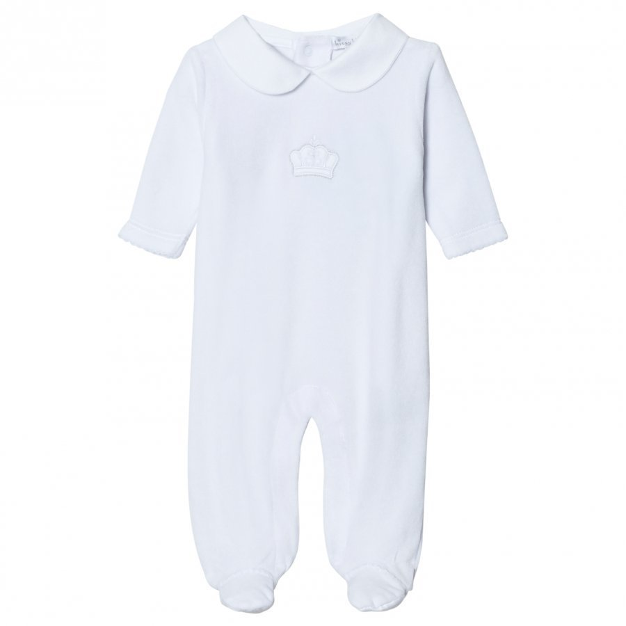 Kissy Kissy White Crown Embroidered Velour Footed Baby Body