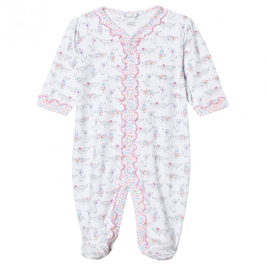 Kissy Kissy White Dachshund Print Frill Footed Baby Body