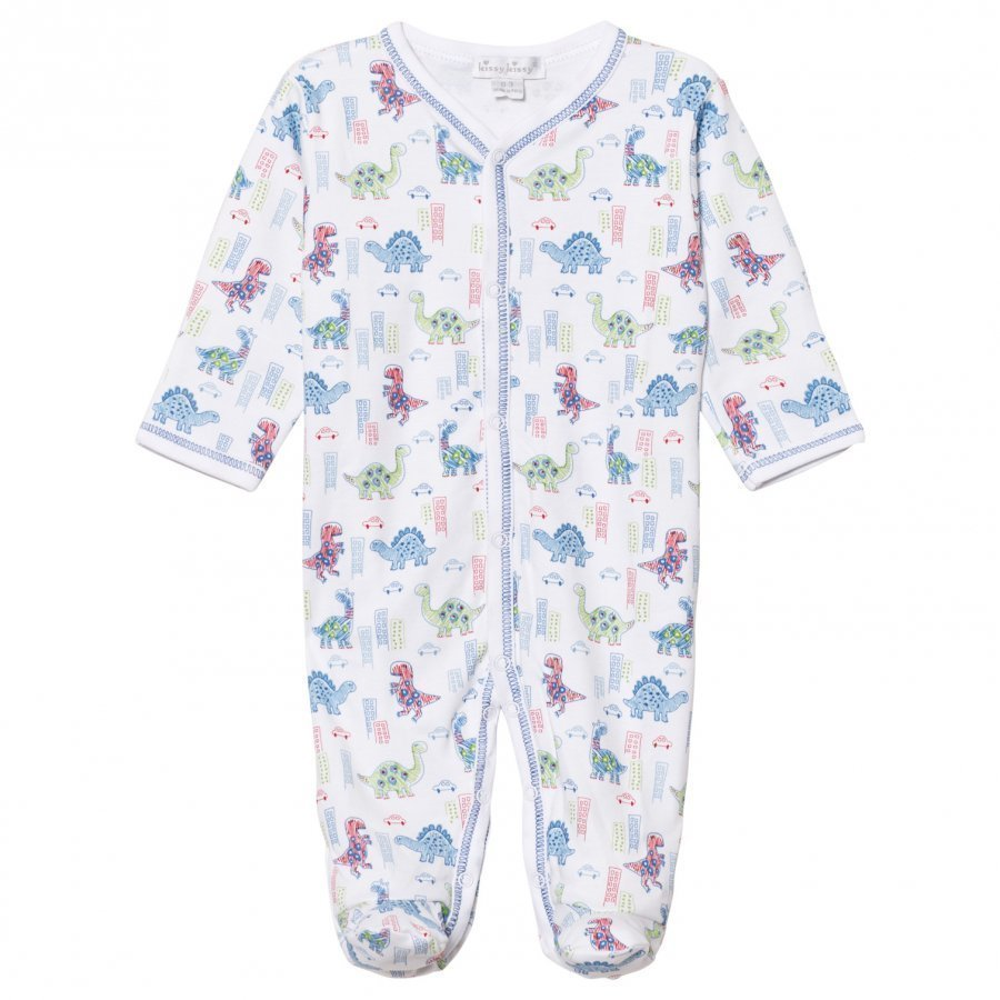Kissy Kissy White Downtown Dinosaur Print Footed Baby Body