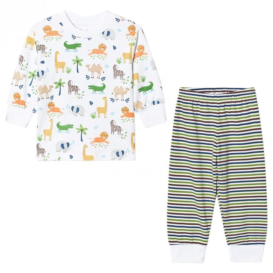 Kissy Kissy White Jungle Print And Stripe Pyjamas Yöpuku