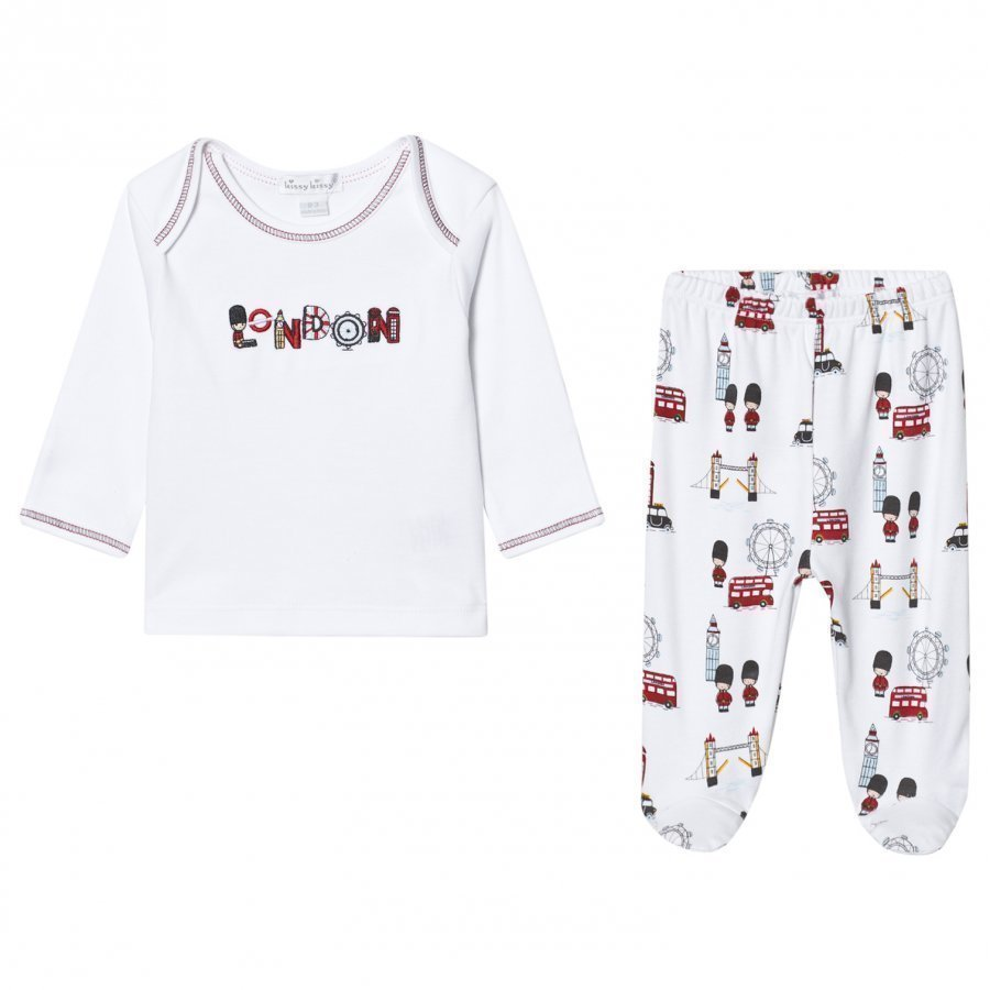 Kissy Kissy White London Landmarks Print Jersey Set Asusetti