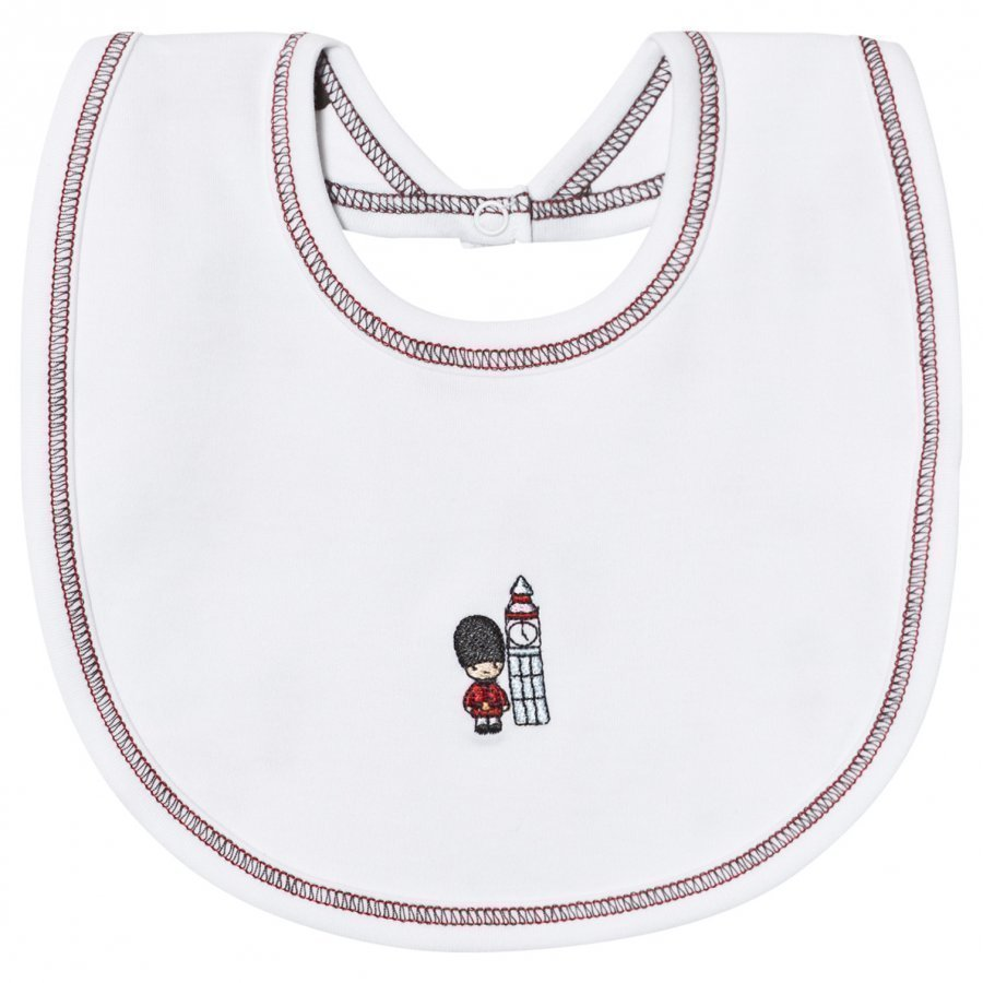 Kissy Kissy White Reversible London Landmarks Print Bib Ruokalappu