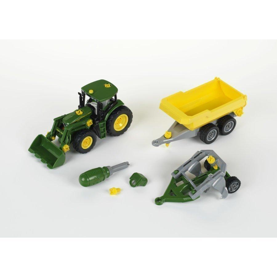 Klein John Deere Traktori Peräkärryllä Ja Lavalla 3904