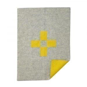 Klippan Yllefabrik Cross Villaviltti Harmaa / Keltainen 65x90 Cm