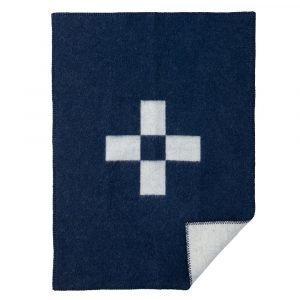 Klippan Yllefabrik Cross Villaviltti Sininen / Valkoinen 65x90 Cm