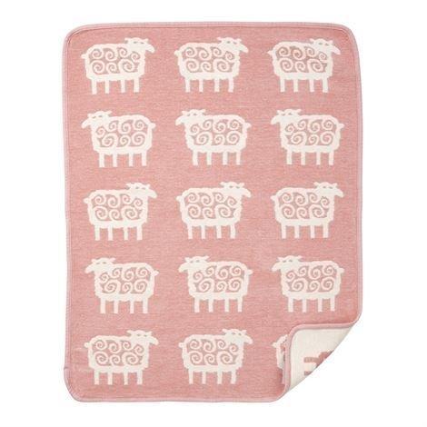 Klippan Yllefabrik Sheep Lasten Chenillehuopa Vaaleanpunainen