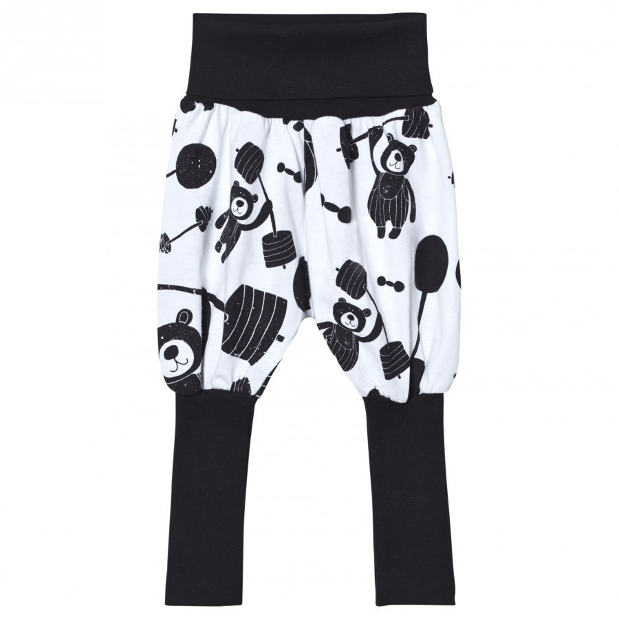 Koolabah Strong Bear Balloon Pants White/Black Harem Housut
