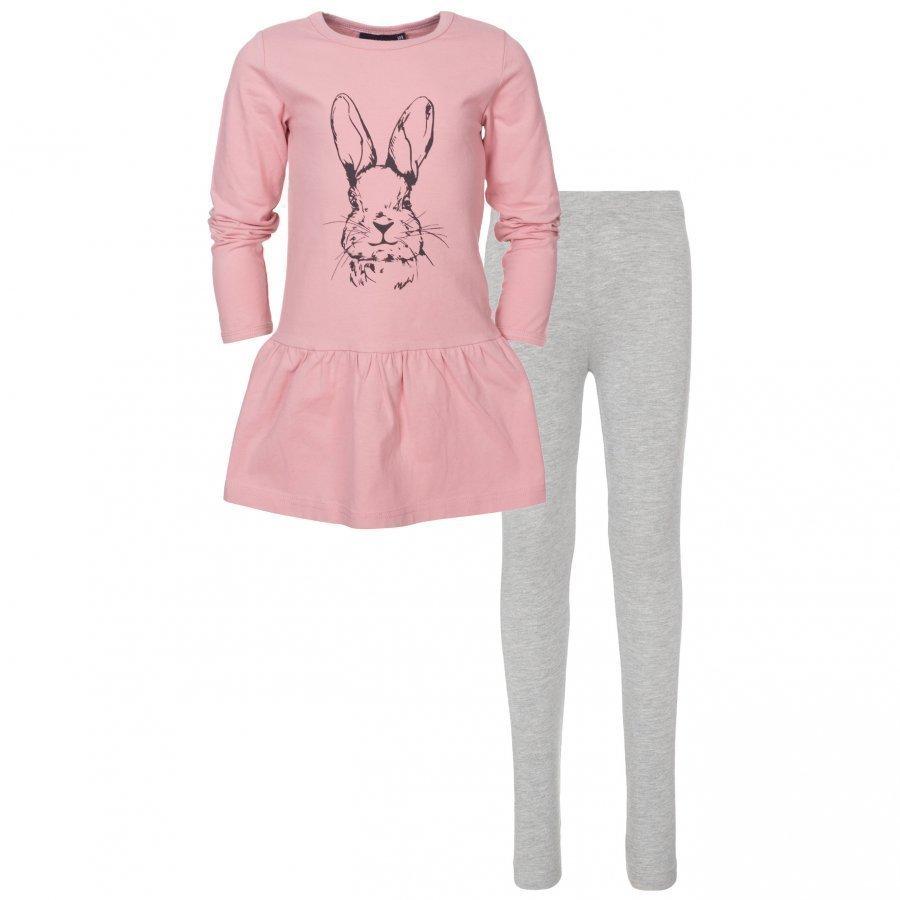 Kuling Basic Klänning + Leggings Old Pink/Grey Melange Mekko