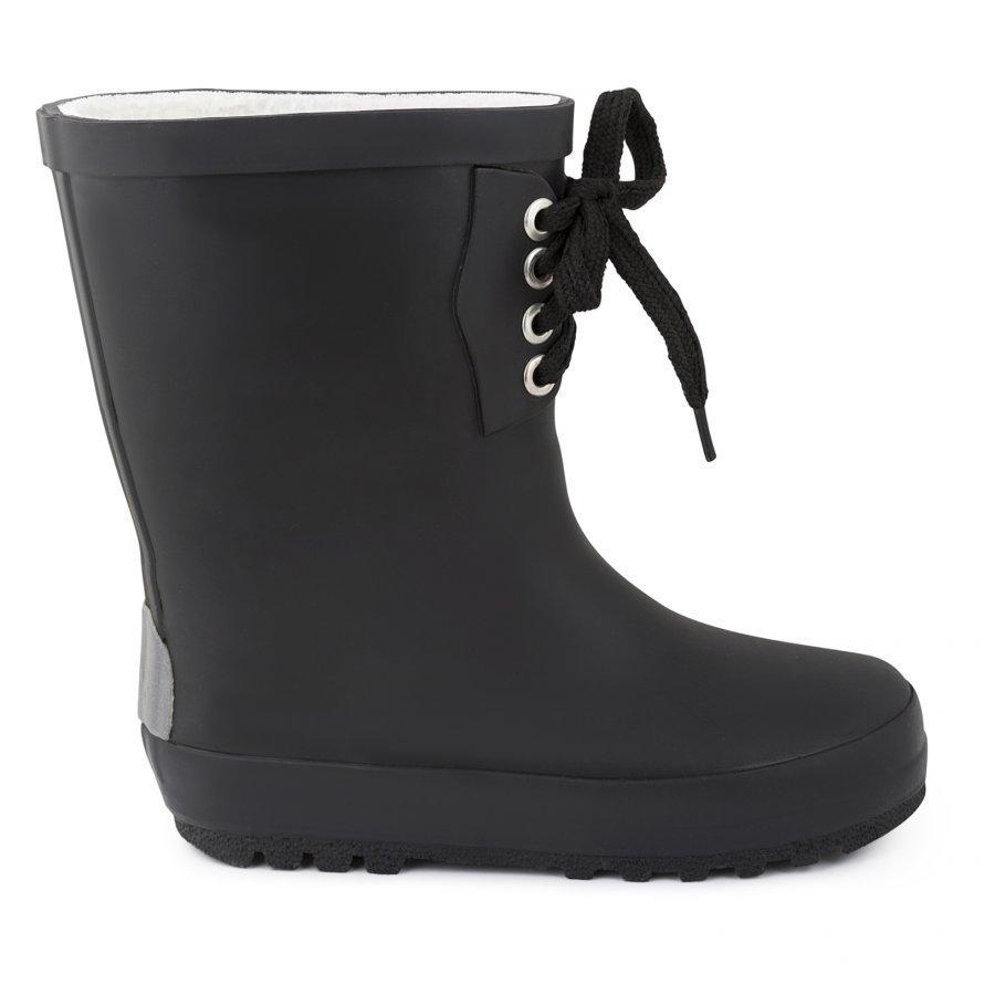 Kuling Shoes Gummistövel Fodrad M. Snörning Black Kumisaappaat