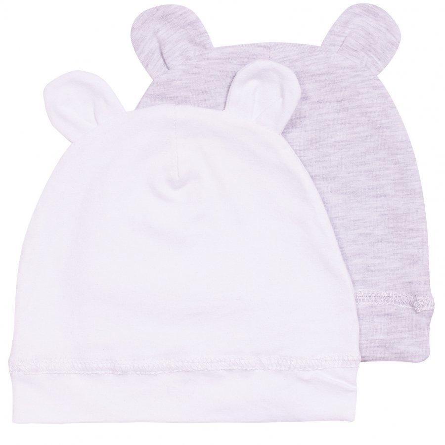 Kuling Trend Babymössa M. Öron 2-Pack Vit/Grå Melange Pipo
