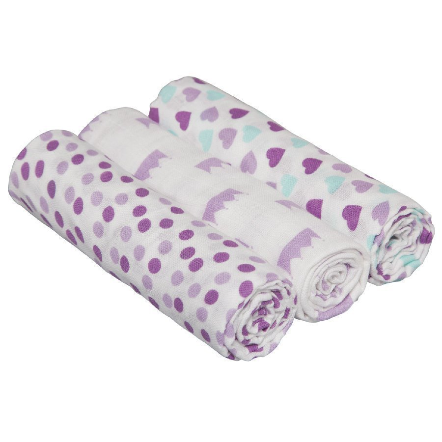 Lässig Hoitoliina Swaddle & Burp Blanket L Little King & Gueen Lila 85 X 85 Cm